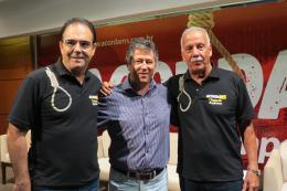 Presidente da FAems, Alfredo Zamlutti Júnior, presidente da Associação Comercial de Cassilândia, Luiz Antônio Borges Guilherme  e deputado estadual Felipe Orro
