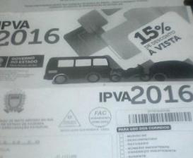 Em preto e branco, boleto do IPVA 2016 chega aos contribuintes de MS
