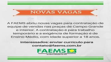 FAEMS contrata equipe de vendas para Campo Grande e Interior