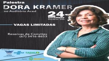 Colunista do Estadão, Dora Kramer ministra  palestra na Aced nesta quinta-feira